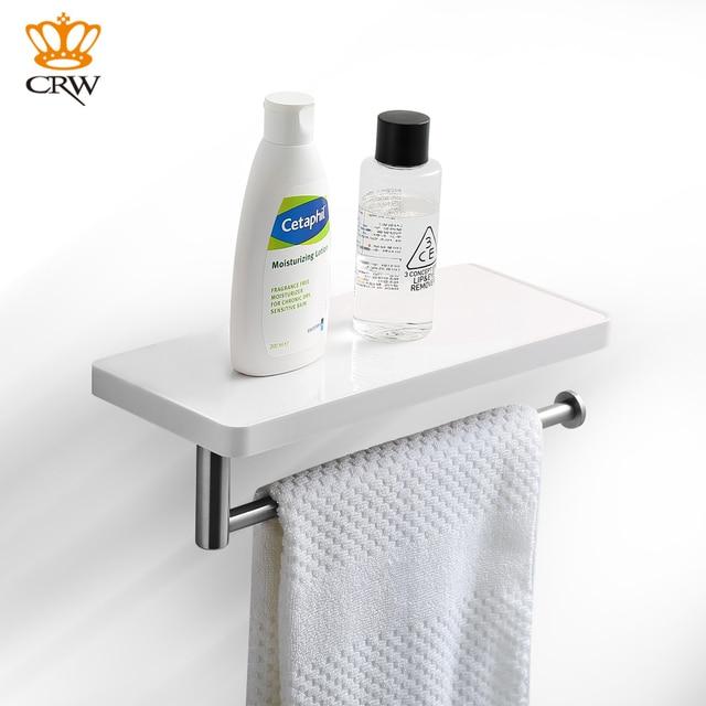 CRW Wall Bathroom Shelf Storage Holder Shower Shelf With Towel Bar ABS  Stainless Steel Heavy Duty
