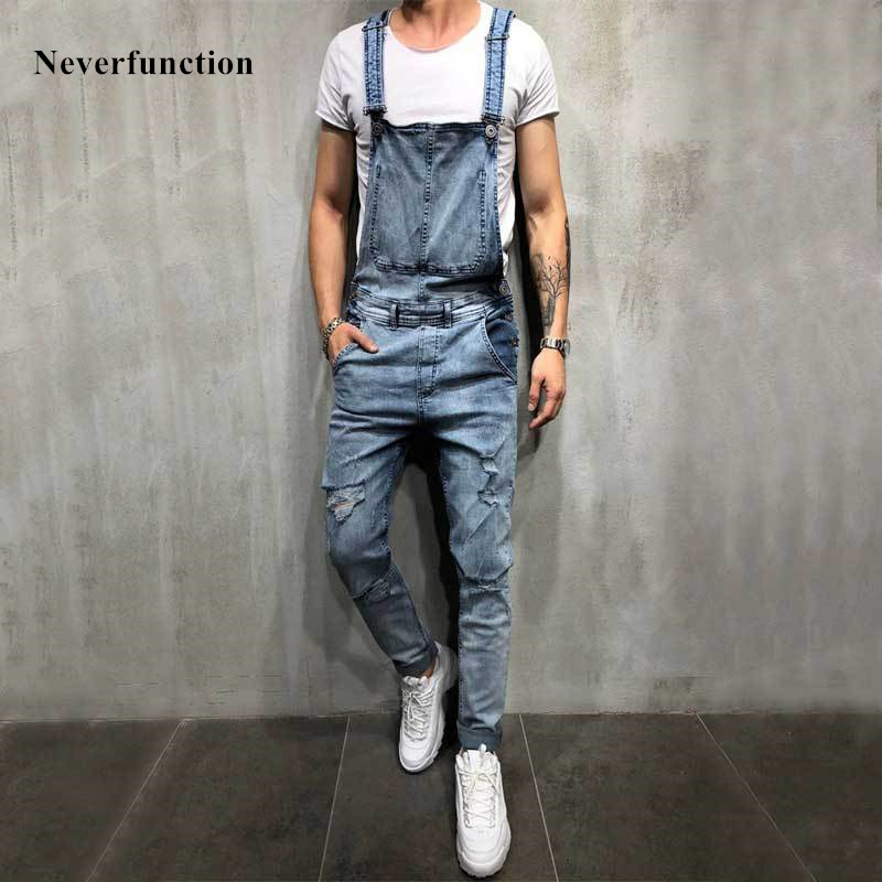Men's blue & black slim snow washed Stretch denim bib overalls Casual hole ripped suspenders jumpsuits Cargo torn   jeans   pants