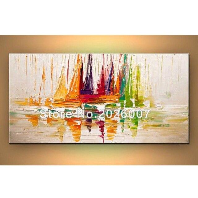 fait la main peinture l 39 huile voilier abstrait peintures l 39 huile palette couteau voilier. Black Bedroom Furniture Sets. Home Design Ideas