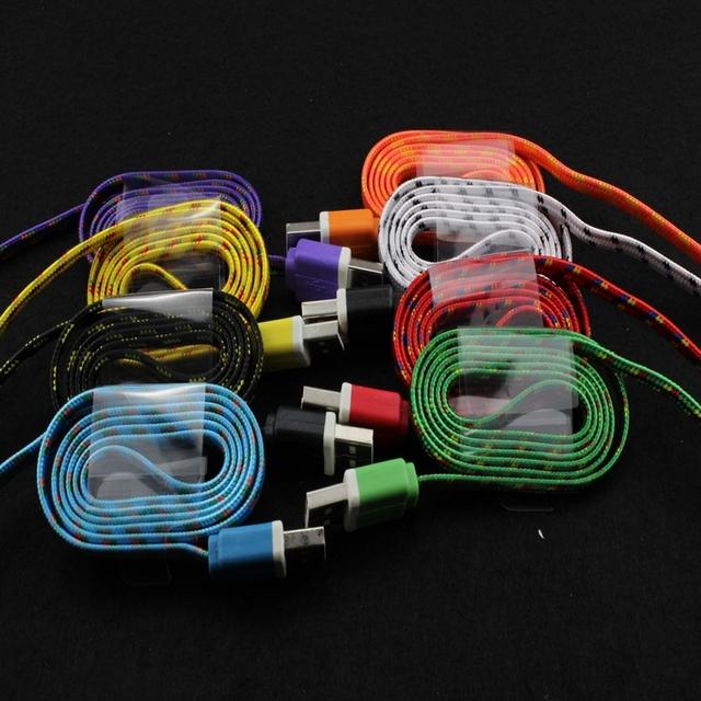 100 pcs de Alta Qualidade 10 Cores Plano Trançado de Fio Tecido Fabic para iphone 5 5s 6 6 plus syn dados 8pin cabo de carregamento do carregador cabos