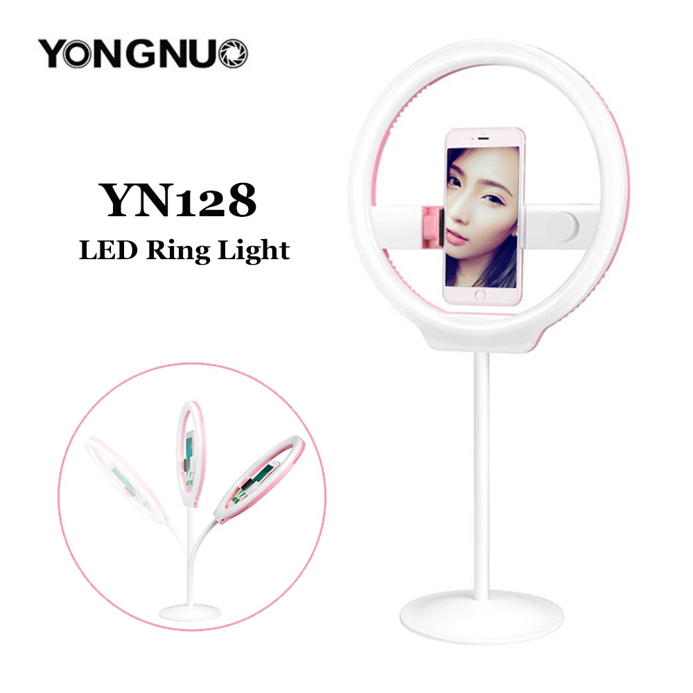 YONGNUO 128 YN128 Selfies Ring Light Bi-color 3200K-5500K LED Ring Photography Lighting Dimmable Ring Led Lamp For iphone7/7plu yongnuo yn128 yn 128 camera photo studio phone video 128 led ring light 3200k 5500k photography dimmable ring lamp