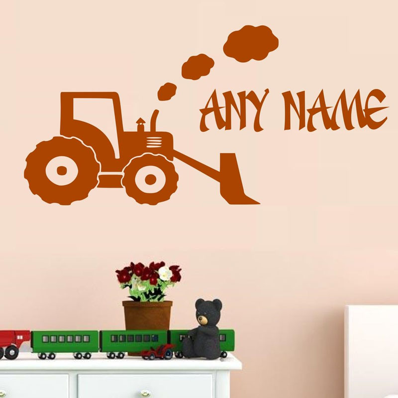 Online Shop Personalised Name Farm Excavator Wall Sticker Kids Bedroom  Decor Vinyl Removable Home Decor Wallpaper Customized Name Stickers |  Aliexpress ...