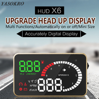 YASOKRO Car OBD2 HUD Head Up Display X6 Car Speedometer Windshield Projector Over Speed Voltage Alarm Car Accesories