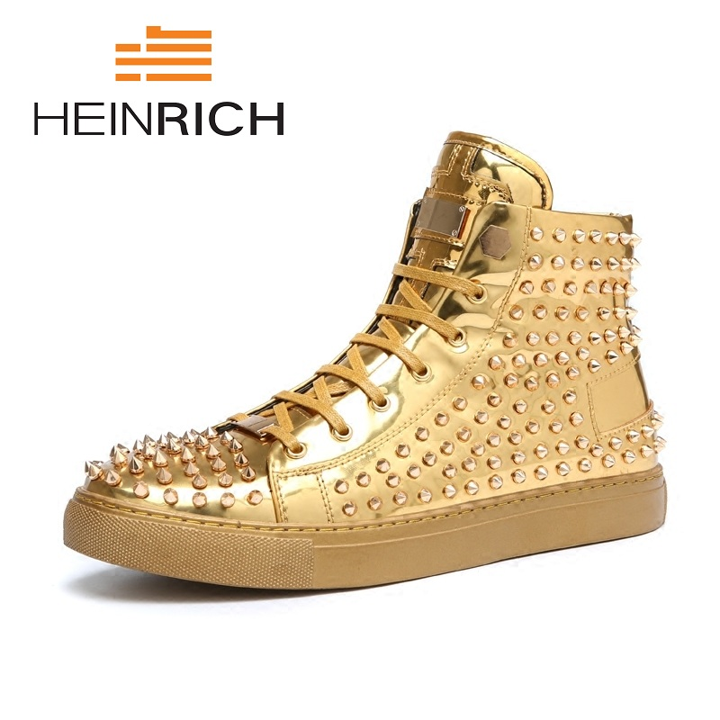 HEINRICH 2018 Men  Boots Fashion Men Ankle Boots Lace Up Men Spiked Boots High Quality Personality Men Shoes ObuwieHEINRICH 2018 Men  Boots Fashion Men Ankle Boots Lace Up Men Spiked Boots High Quality Personality Men Shoes Obuwie