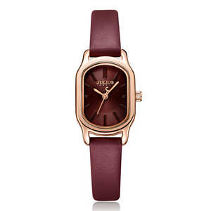 Image 5 - 줄리어스 레이디 레트로 스퀘어 가죽 여성 시계 캐주얼 스몰 다이얼 쿼츠 손목 시계 여성 드레스 몬트 펨 시계 선물