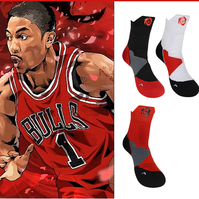 Derrick Martell Rose Basketball Knee High Middle Calf Cotton Thick Socks 2019 New Adult Size Point Guard Professional Training