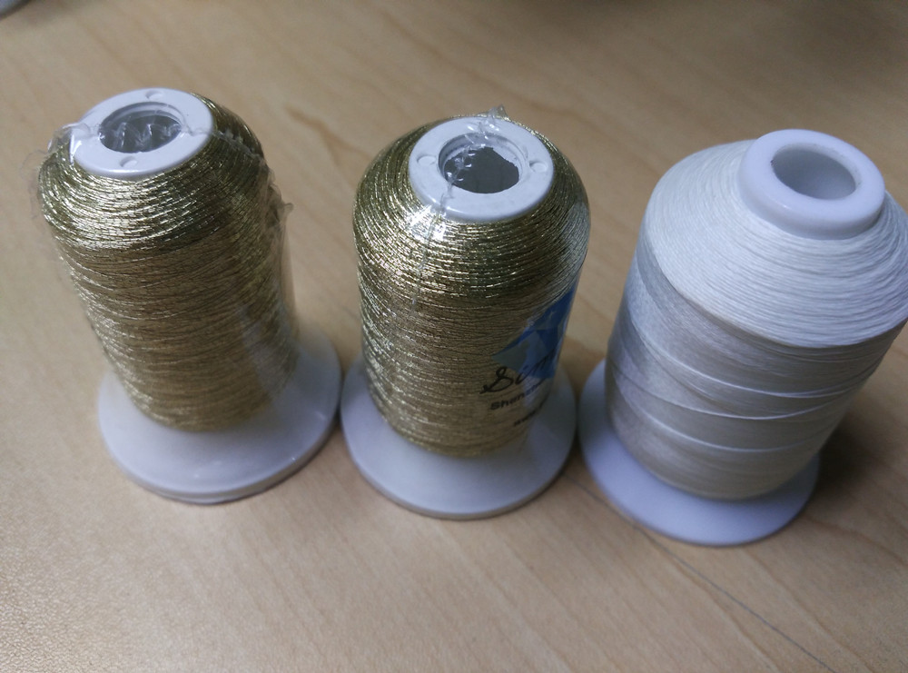 Popular Simthread Gold color metallic embroidery thread And White Glow in the dark Embroidery Thread set