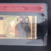 Поддельные золотые Банкноты евро банкноты 20 евро чистая Золотая фольга бумага деньги золотая Банкнота с COA рамкой для сбора банкнот