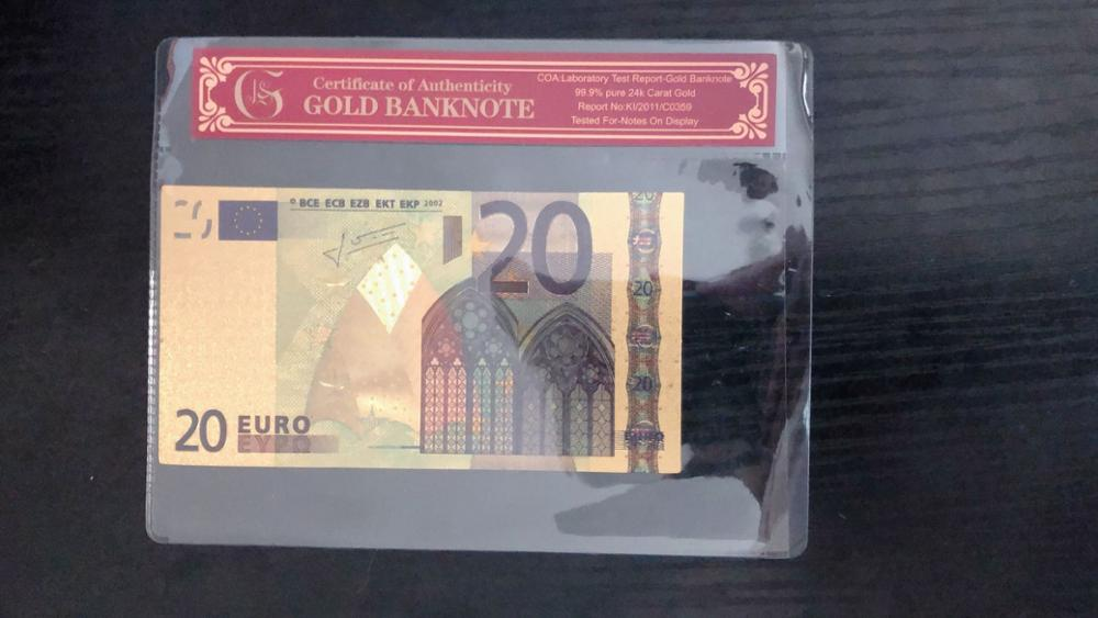 Fake Gold <font><b>Banknote</b></font> <font><b>Euro</b></font> <font><b>banknotes</b></font> <font><b>20</b></font> Euros Pure Gold Foil Paper Money Gold Bill Note With COA Frame For Collection <font><b>banknotes</b></font> image