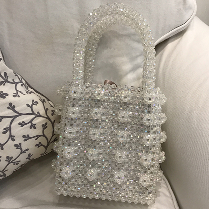 Crystal Lady Dinner Bag Handbag Ins Niche Artificial Crystal Weaving Heavy Industry Pearl Handbag Name Bag