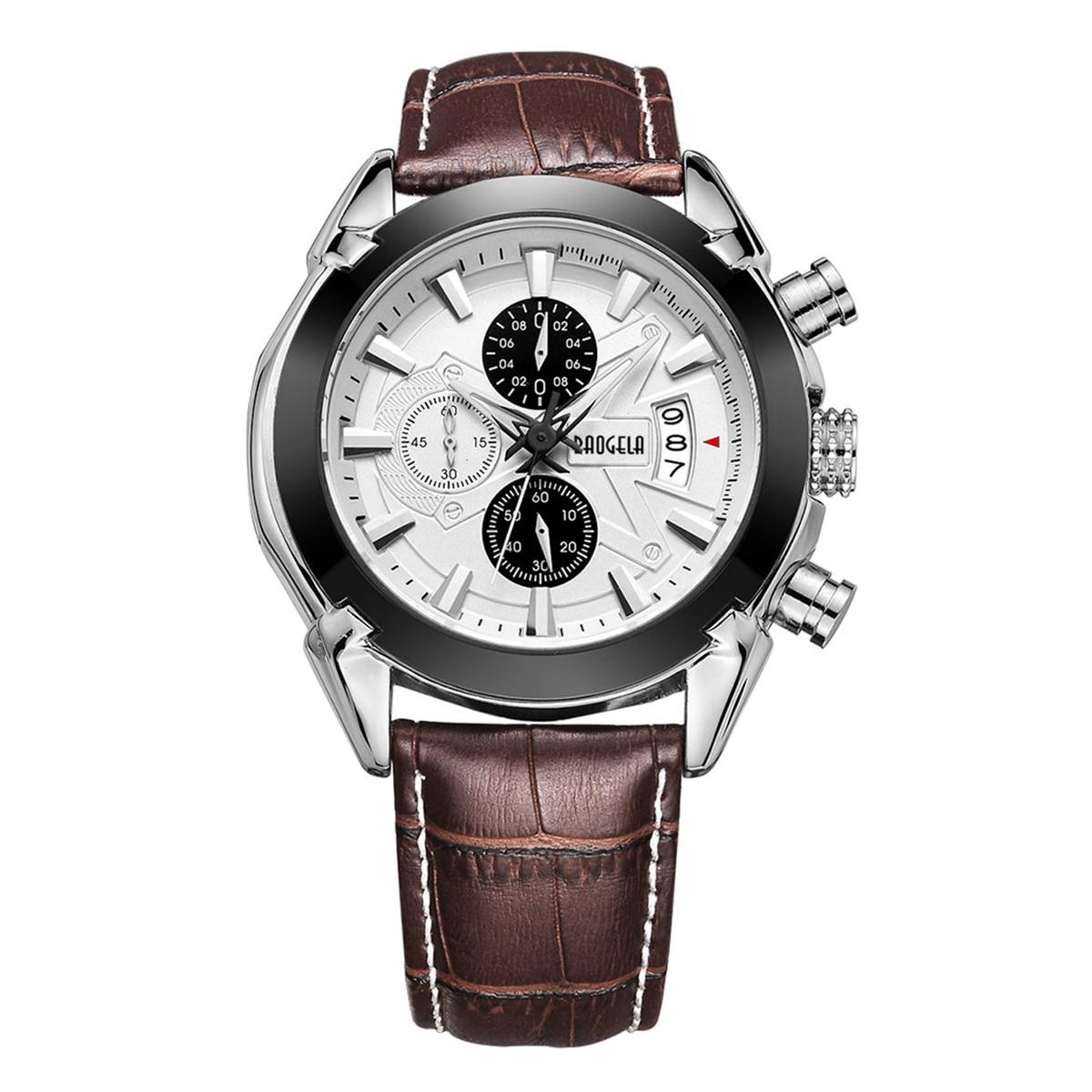 BAOGELA Mens Chronograph Luminous Hands Date Indicator Fashion Causal Leather Strap Sport Quartz Wrist Watches 1602 все цены