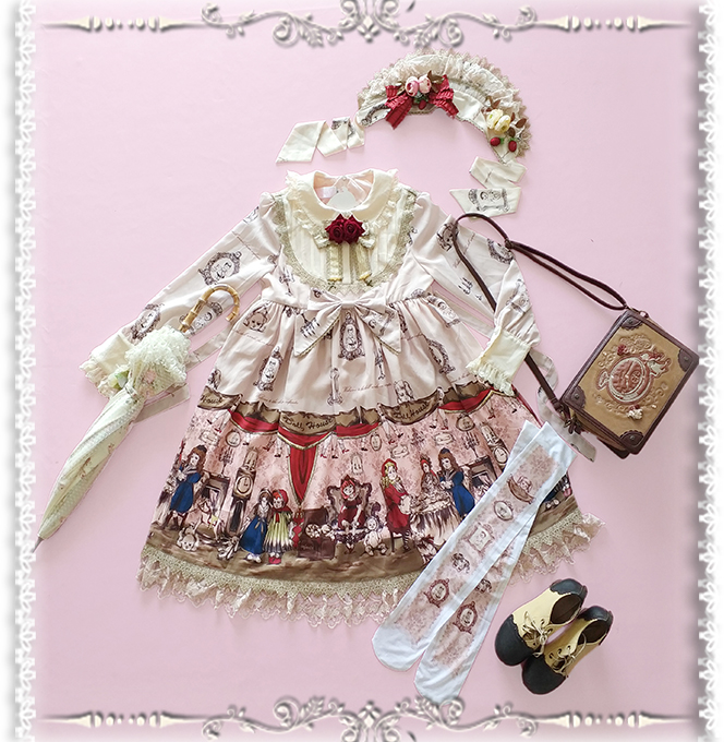 Baby Doll House ~ Sweet Printed Long Sleeve Lolita Dress by Infanta