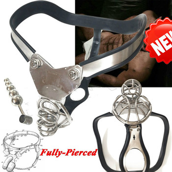 Stainless Steel Male Pierced Cage T-type Single Back Cable PA Hook chastity belt  ball stretcher  male chastity adult sex toys