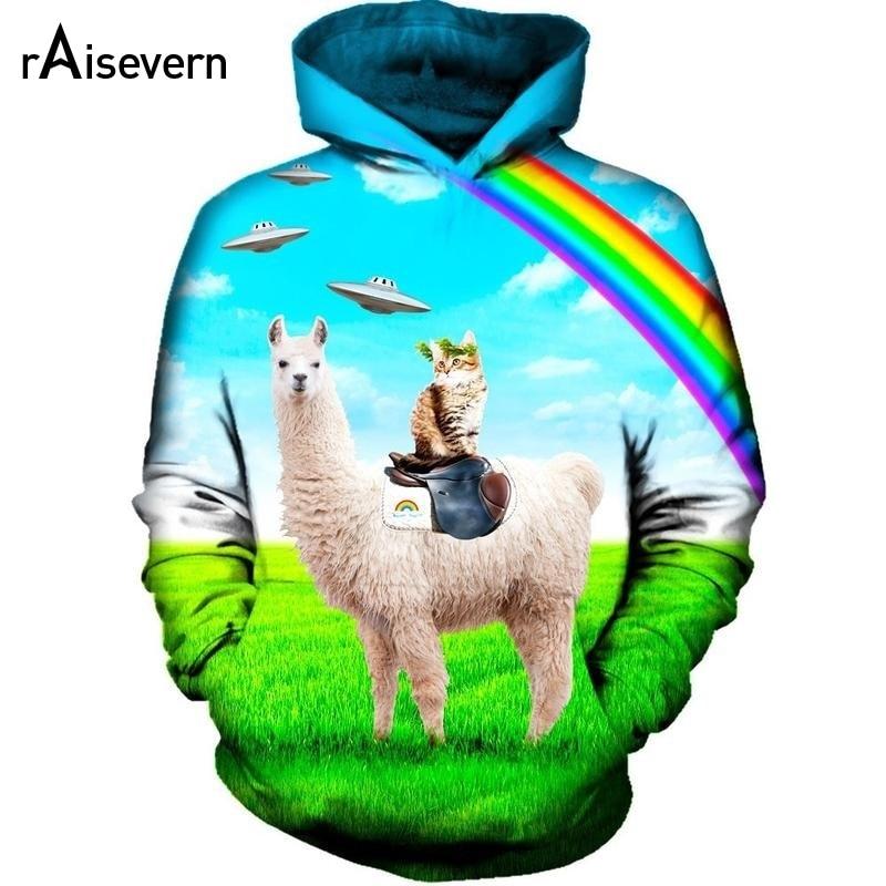Men Pullover Hood Rainbow Llama Cat Zip Hoodies Hooded Fashion Jackets Coats