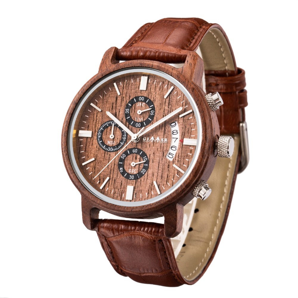 New Mens Watches Top Brand Luxury Wood Watch Men Calendar Leather Military Natural Wood Watches Wrist Watch Relogio Masculino все цены
