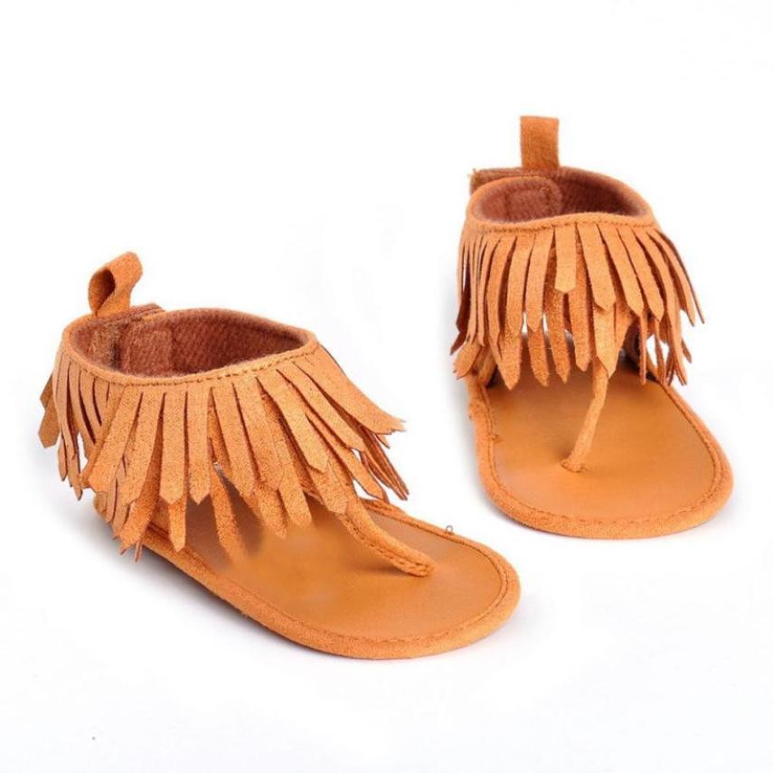 2017 Baby Infant Kids Girl Boys Soft Sole Fringe Sandals Shoes Toddler Newborn Tassels PU Leather Hook & Loop Summer Sandals