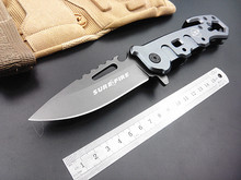 Hot! utility outdoor survival folding knife SF rescue camping knife tactical knives hand multi tools gray titanium coat blade