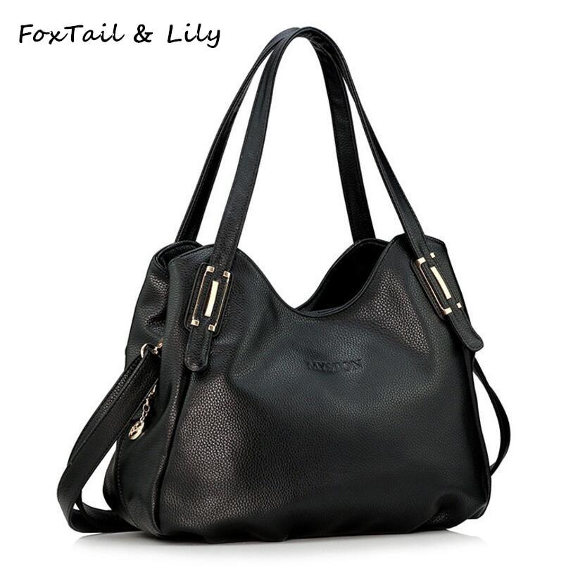 FoxTail y Lily All Seasons Bolso de cuero genuino de lujo para las mujeres Bolso de cuero suave Señoras ocasionales Bolsas de mensajero del hombro