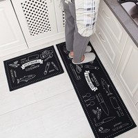 2PCS Modern Kitchen Mat Anti Slip Floor Mat Hallway Balcony Bathroom Carpet Set Doormat Free