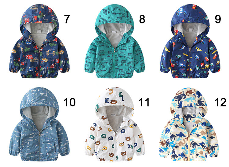 Children's jacket spring and autumn new children's clothing boy dinosaur Hooded Outerwear cartoon windproof jacket boy Coats