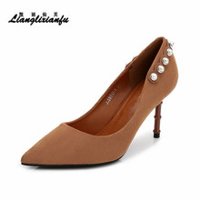 LLXF Plus:34-39 Fashion Pearl wedding/Dress shoes woman 8cm Thin Heel Ladies Pointed Toe Suede RED pumps Shallow mouth Stiletto