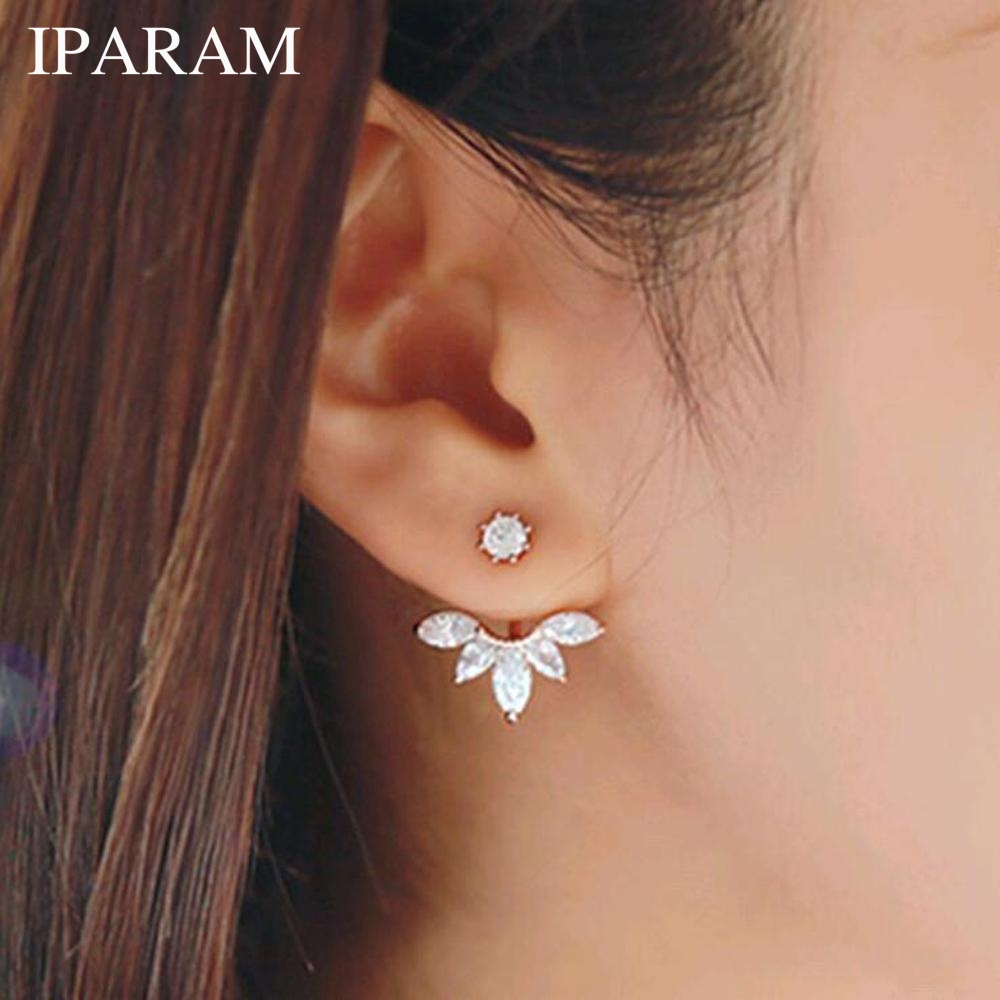 IPARAM Korean Gold And Silver Plated Earrings Fashion Statement Jewelry Crystal Stud Earrings Prisoner For Women