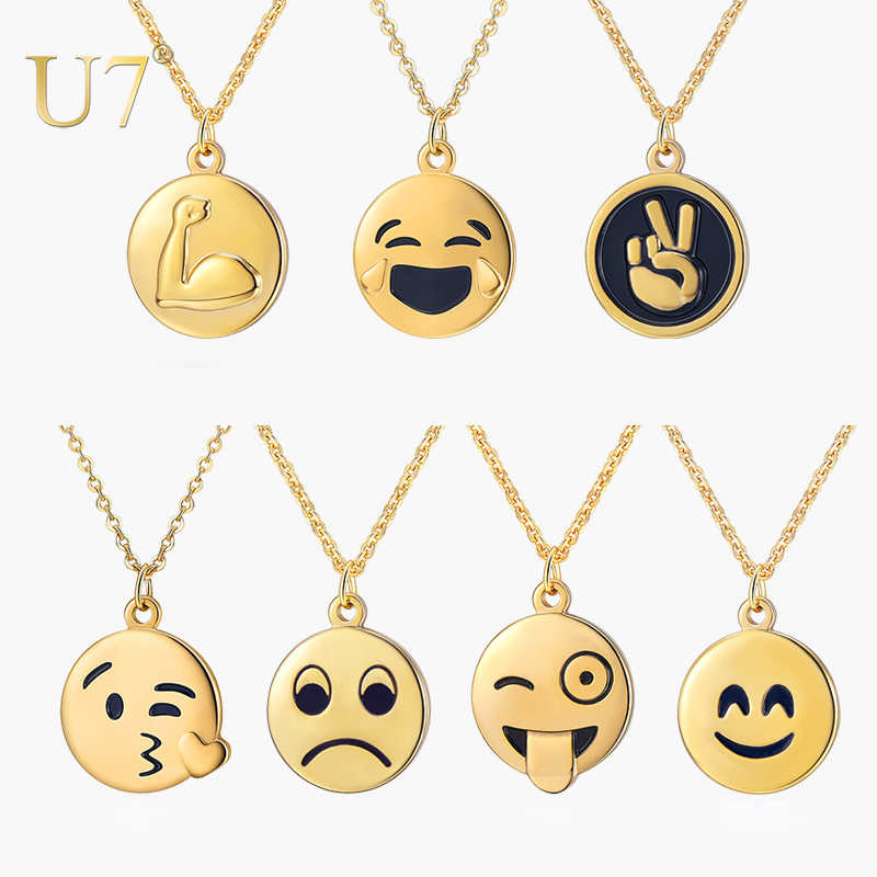 U7 Cartoon Emoji Necklace & Pendant for Women Round Expression Choker Collars Stainless Steel Funny Cute Jewelry Gifts P1235