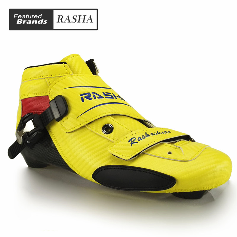 все цены на RASHA speed skating shoes inline speed skating boot Professional adult child speed skates men/women patines en linea онлайн