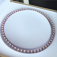 Women Gift word 925 Sterling silver real Taihu is the natural freshwater pearl necklace 7-8 mm to purple circle