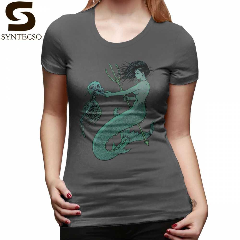 Mermaid Skeleton เสื้อยืดด้านล่างรูปแบบเสื้อ T สีเทาผู้หญิง tshirt สบายๆ O คอ 100 Cotton Ladies Tee เสื้อ