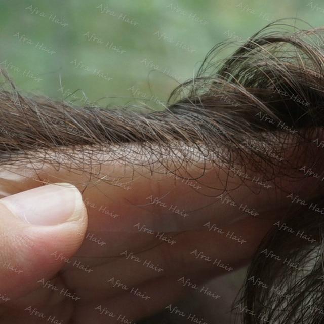 Супер Тонкая Кожа и Волосы Человека Мужчины Невидимые Линии Роста Волос v-цикл Мужской Накладки Pelo Humano Естественный Peluca Корто H079