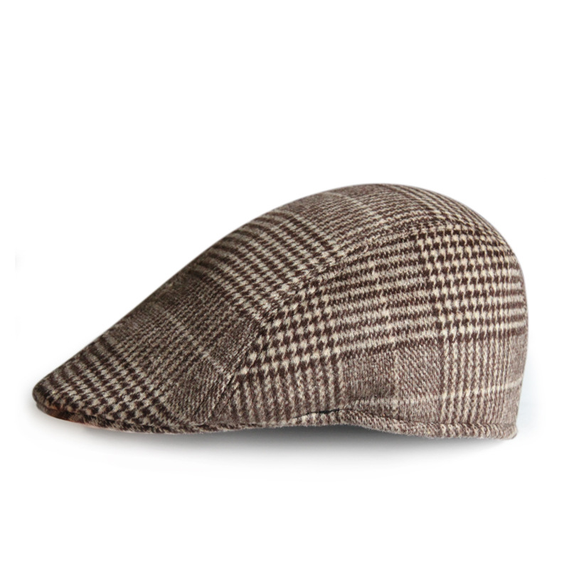 SHOWERSMILE Brand French Hats For Men Women Wool Tweed Cap Vintage Plaid  Flat Painters Winter Autumn Newsboy Beret Houndstooth 22b7243595d8