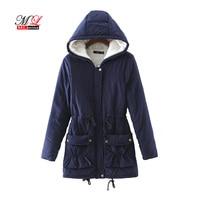 MLinina New 2018 Winter Women Jackets Cotton Padded Coat Long Slim Hooded Parkas Casual Wadded Quilt Snow Outwear Warm Overcoat