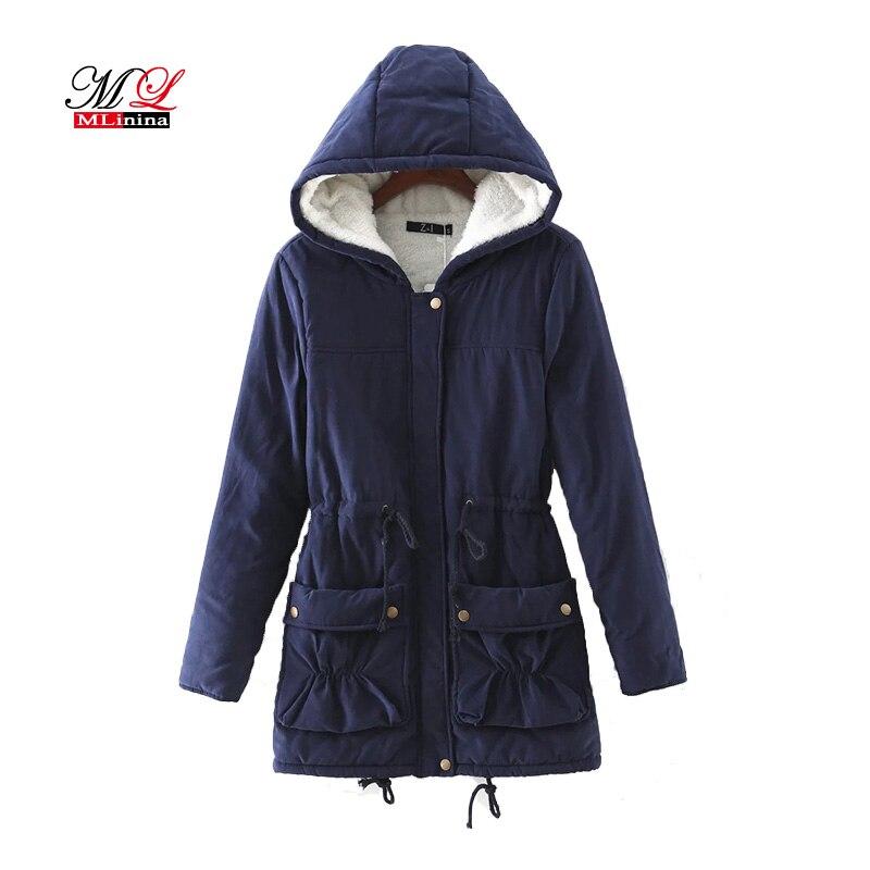 MLinina New 2019 Winter Women Jackets Cotton Padded Coat Long Slim Hooded   Parkas   Casual Wadded Quilt Snow Outwear Warm Overcoat