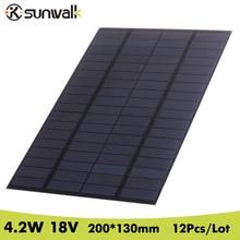 SUNWALK 12pcs 18V 4.2W PET Solar Panel Mini Solar Cells Polycrystalline Silicon DIY Battery Power Charge Module 200*130mm