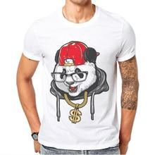 2019 New Products Hip Hop Rock Men T-Shirt Short Sleeve O-Neck White Trendy Man T Shirt Cool Tee Funny Panda Printed Mens TShirt