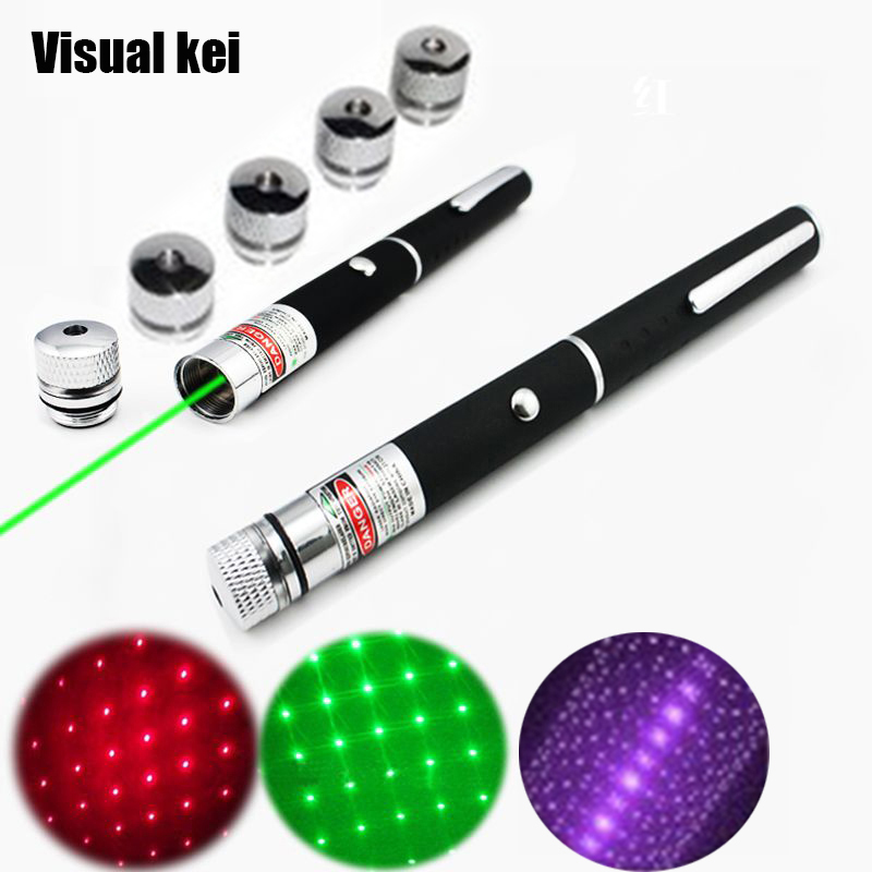Mini Starry 5mW 532nm Green Red Purple Laser Pointer With 5 heads Sky Star Lantern Pattern Lazer Pen Light beam 5mw red green laser pointer laser pen presenter present pen with star cap