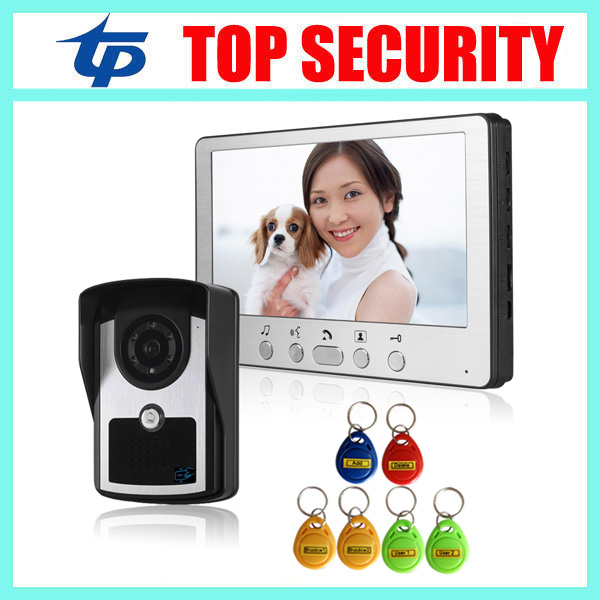 7 Inch Color Screen Video Door Phone System RFID Card Door Access Control Reader Standalone Access Control Video Intercom Bell 7 inch password id card video door phone home access control system wired video intercome door bell