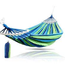 1-2 Person Garden Hammock Portable Outdoor Hammock Sports Home Travel Camping Swing Chair Canvas Stripe Hang Bed Hammock cotton rope garden swing chair thicken portable hammock with foot pad wooden indoor outdoor swing relax camping hang chair seat
