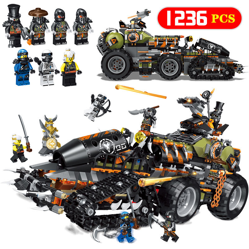 New 1236PCS Ninjagoed Series Heavy dragon truck Legoing 70654 Dieselnaut Set Building Blocks Bricks Kids Toys