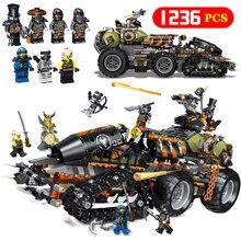 Новый 1236 шт. Ninjagoed серии тяжелый Дракон грузовик Legoing 70654 elnaut Набор строительных блоков Кирпичи Детские игрушки как рождественские подарки