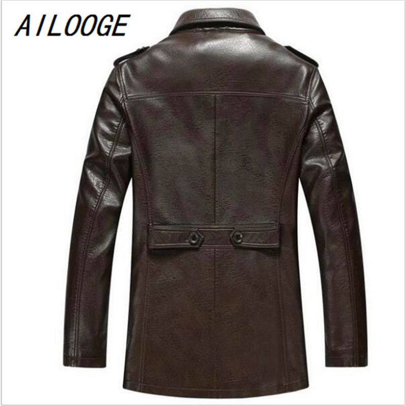 AILOOGE Autumn Winter Leather Clothing Genuine leather Fashion Man Medium style Slim wind coat Casual jacket AILOOGE Autumn Winter Leather Clothing Genuine leather Fashion Man Medium style Slim wind coat Casual jacket Men Tops lederen