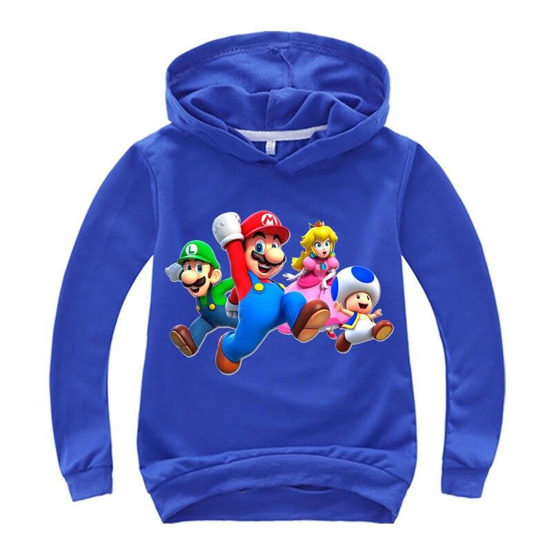 Spring Cartoon Super Mario Print Children Long Sleeve T Shirts Boys Cotton Nova Tops Girls Tees Kids Clothes Fille Baby Costumes