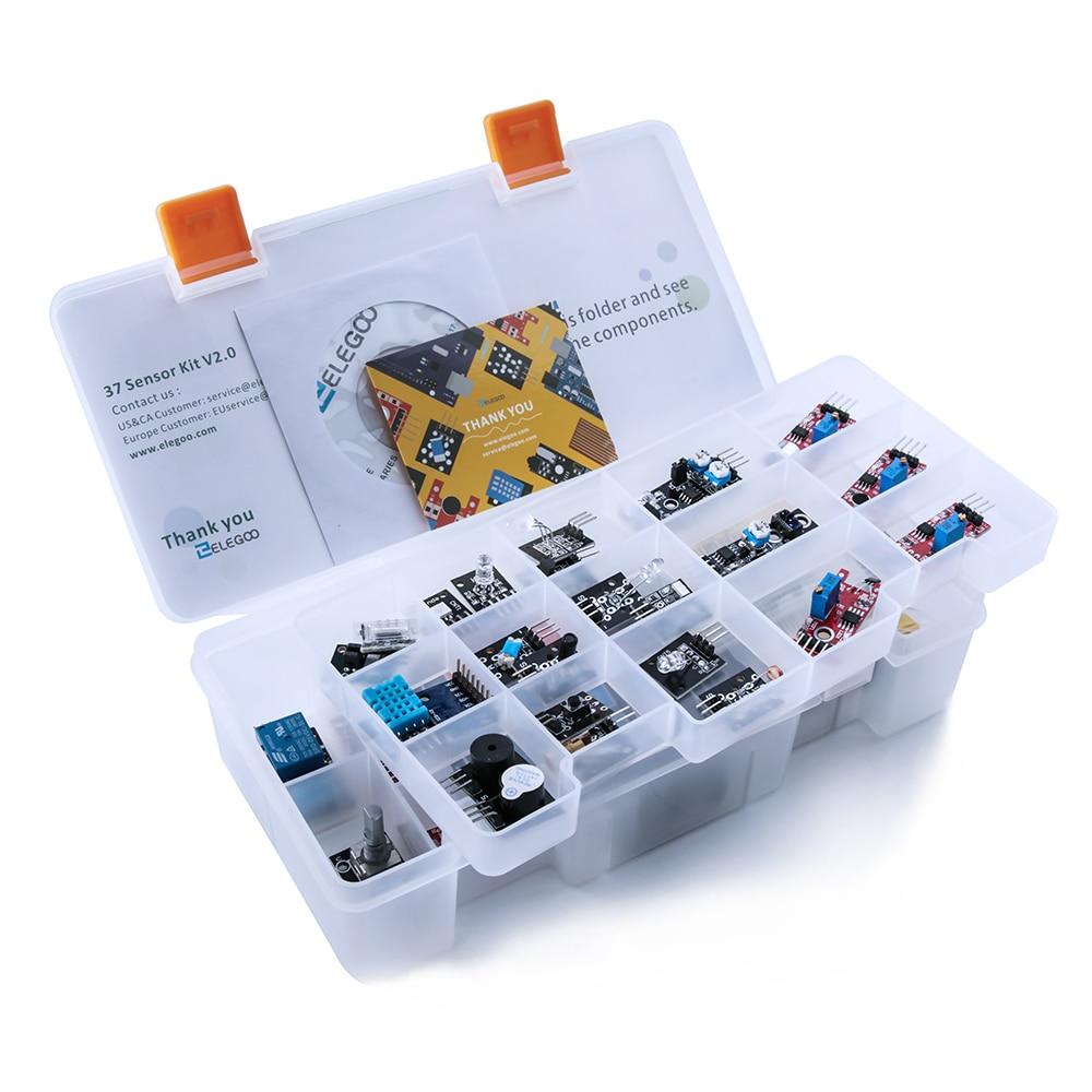 כרטיסי טלויזיה ועריכה ELEGOO Arduino Uno ננו R3 סט בשל חיישן Arduino קיט מודולים משודרג 37 ב 1 Kit עם הדרכה עבור Arduino MEGA 2560 Nano (2)