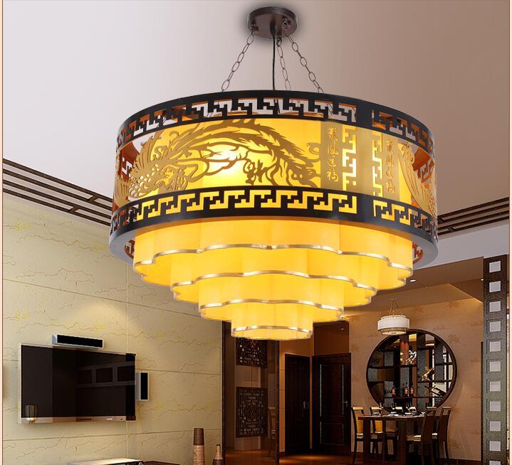 Современная китайская люстра твердая деревянная гостиная, столовая, лампы, овчина техническая лампа.