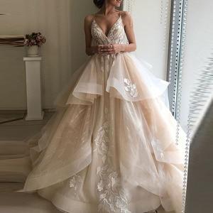 Image 1 - חתונה שמלות לבנון טול אפליקציות שמפניה פרע אורגנזה תפור לפי מידה נפוחה שמלת כלה בתוספת גודל שמלת כלה