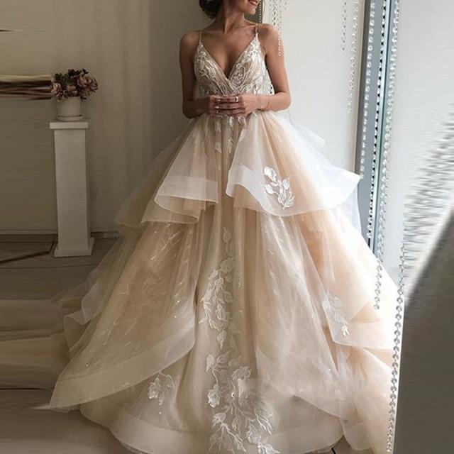 חתונה שמלות לבנון טול אפליקציות שמפניה פרע אורגנזה תפור לפי מידה נפוחה שמלת כלה בתוספת גודל שמלת כלה