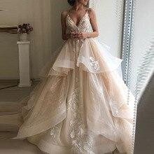 Áo Váy Liban Voan Appliques Champagne Xù Lông Đàn Organ Tự Làm Phồng Áo Dài Cô Dâu Plus Kích Thước Cô Dâu Đầm
