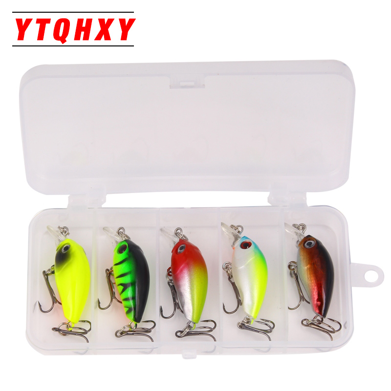 YTQHXY 5pcs 4.2g Fishing Lure Kit Minnow Floating Lure Isca Crankbait Bait Pesca Jig Fishing Hook with Fishing Tackle Box YE-406 fishing tackle box for storage bait hook with a waist belt