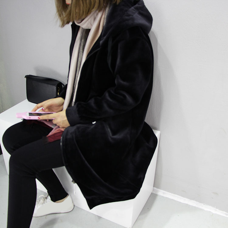 bbd183f59d8 o0o Autumn Women Korean Casual Solid Plus Size Coats Zippers Long Sleeve  Zipper Loose Overcoat Mid Velvet Hooded Jacket Streetwear-in Basic Jackets  from ...